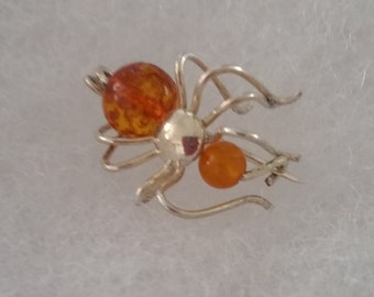Sterling Silver Amber Spider Pin