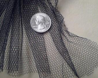"Vintage lace, BLACK TULLE--Large Weave, 1.5 yd x 72"""