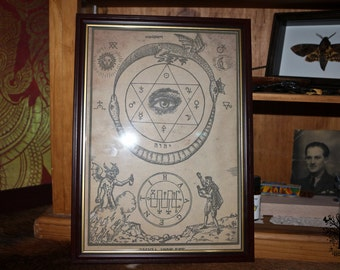 Old Antique Magic  hand aged symbolism aged print in frame aged reproduction print wicca witchy Pagan decor Wicca Decor Wicca print