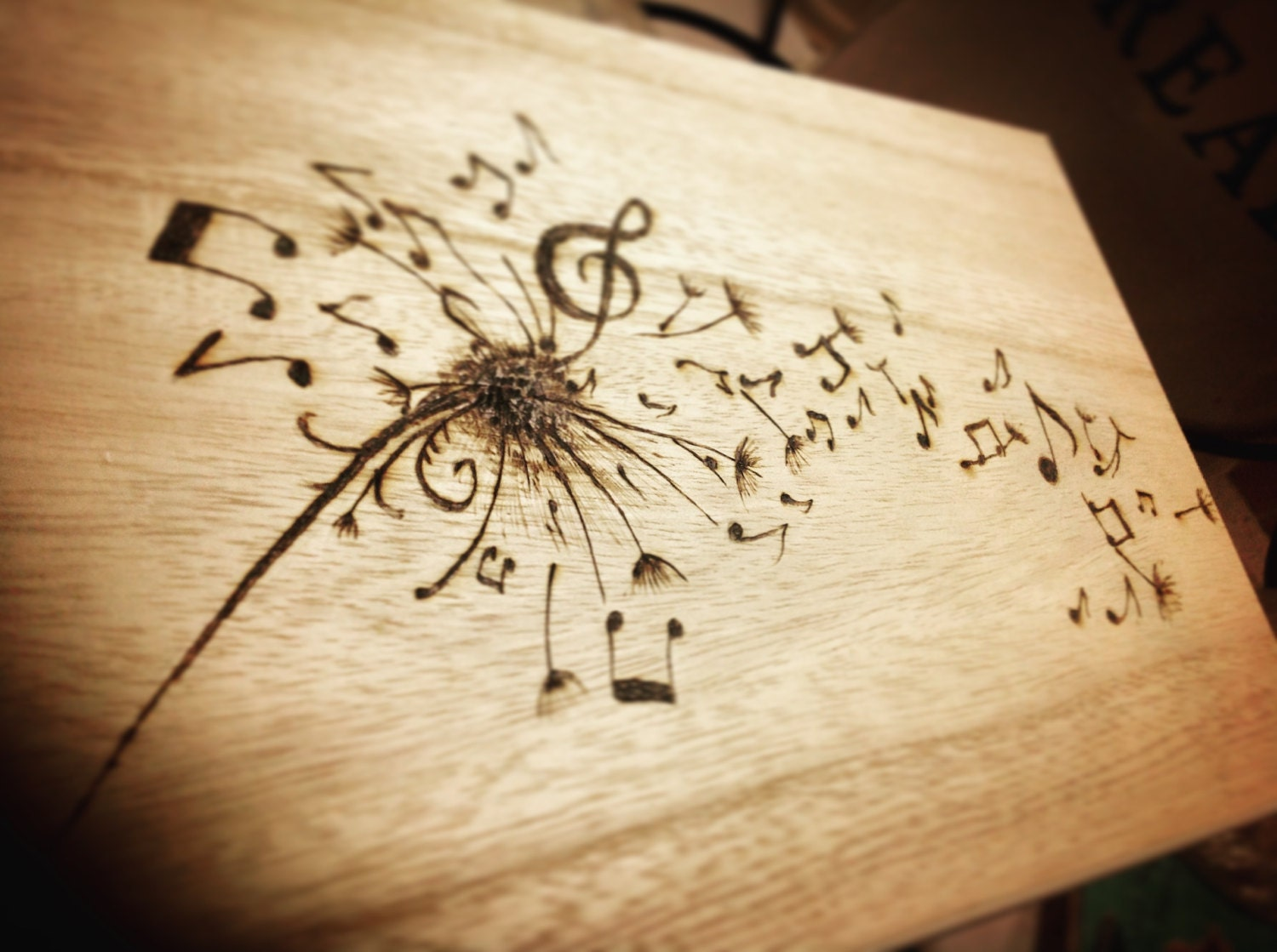 wood burning design templates - dandelion musical notes wooden box personalised box make a