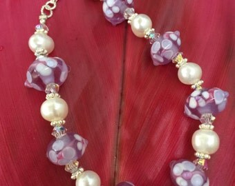 Pretty lavender floral lampwork and freshwater pearl bracelet, gift for her