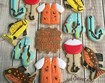 1 doz. Fishing cookies Father's Day birthday