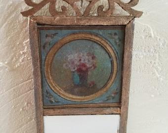 Miniature French Provencal Mirror, 1:12 Dollhouse Furniture, Miniature Trumeau Mirror, Entry Mirror, Gustavian Miniature