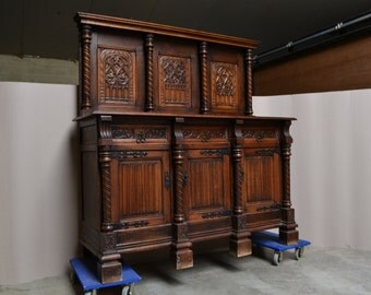 Antique French Gothic Server Sideboard in Oak AMAZING Carving Circa 1900 #5476