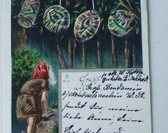 Very rare antique Halloween post card 1899! Dwarf with lanterns and Sage text