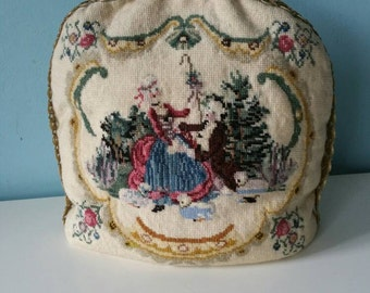 Brocante style Little Bo Peep and roses tea cosy embroidered gobelin style used condition