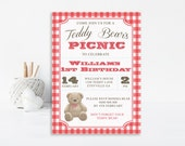 Teddy Bear Invitation, Teddy Bear Picnic Invitation, Bear Invitation, Teddy Bear Invite, Teddy Bear Invitation, Printable Invitation, Red