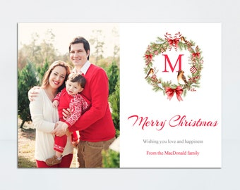 Christmas Card - Printable Christmas Card - Christmas - Printable Photo Card - Modern Christmas Card - Personalized - Wreath Christmas Card