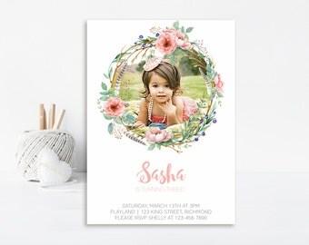 Shabby Chic Birthday Invitation, Shabby Chic Invite, Shabby Chic Birthday, First Birthday Invitation, Floral Invitation Printable Invitation