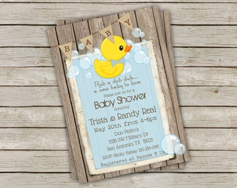 Rubber Duck Baby Shower Invitation- Rustic Wood and Burlap Banner 5x7