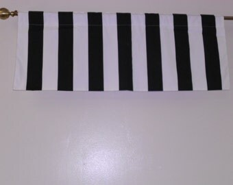 black and white stripe valance 50w x 16h unlined black and white cotton