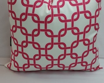 "Candy pink and white, Chain link geometric pillow, 18"" x 18""  cotton"