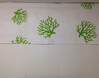 Lined valance, 42W x 16H , Premier sea coral, chartreuse green and white