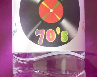 Vinyl record water bottle labels, 70's party theme, music water bottle labels, I love the 70's water bottle labels