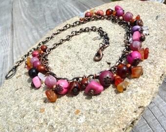 Necklace copper multicolor pink orange purple acai ivory plant agate bohemian multicolor necklace gemstone plant seeds