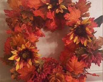 Fall Floral Wreath, Front Door Thanksgiving Wreath, Wreath for Fall Decor, Autumn Wreath, Fall Leaf Wreath, Fall Sunflower Wreath