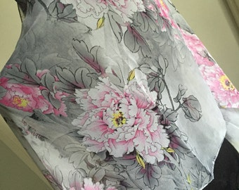Scarf shawl wrap sarong cover up Fichu with pink grey gray flowers multi birthday wedding party