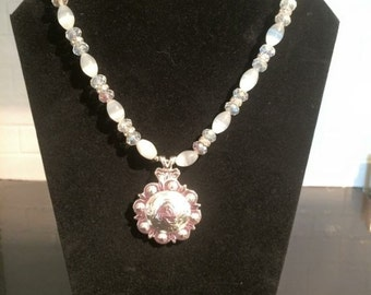 Silver and White Western Necklace