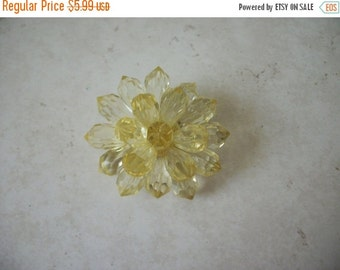 ON SALE Vintage Yellow Pale Plastic Flower Pin 1472