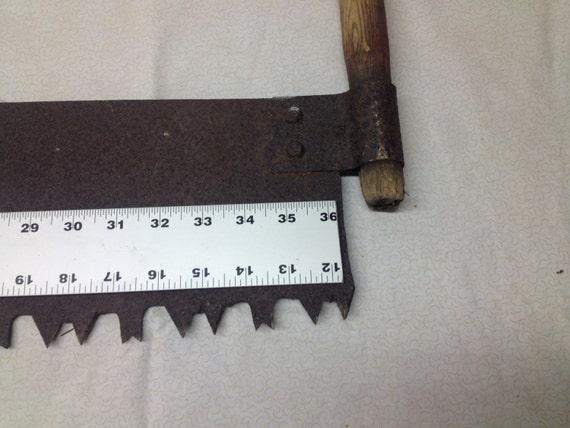 The Cross Cut Saw On A Wall Mount : Antique lumberjack crosscut one man logging saw rusty