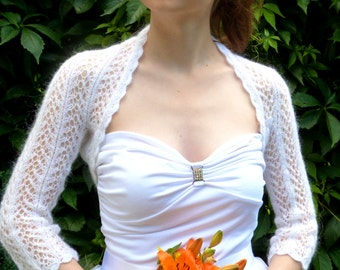 White Bridal Bolero Shrug, Wedding Bolero, Openwork  Bolero Shrug
