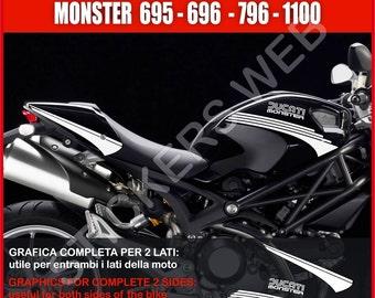 Stickers moto motorcycle Ducati Monster 695 795 796 1100 1200 Vinyl Decal Pegatinas Adesivos Cod.0009