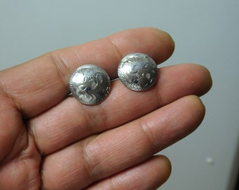 Vintage Hand Chased Sterling  Silver Disc Earrings