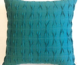 Teal Pillow Cover, Teal Blue Textured Pillow,Teal Cushion Cover, Textured Cushion,Teal Throw Pillow Covers 18 x 18 Pillow Covers