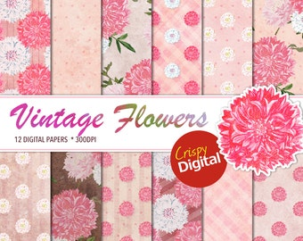 Vintage Pink Flowers Digital Papers Printable 12pcs 300dpi  Scrapbook Paper Collage Sheets Digital Paper Pack