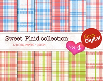 Plaid Red, Blue and Green Digital Papers 12pcs 300dpi Digital Download Plaid Collage Sheets Scrapbooking Plaid Printable Paper