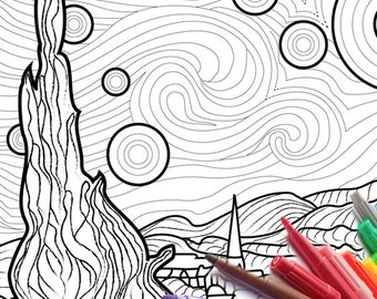 starry starry night coloring page vincent van gogh download printable coloring sheet cheap page instant download - Van Gogh Coloring Book