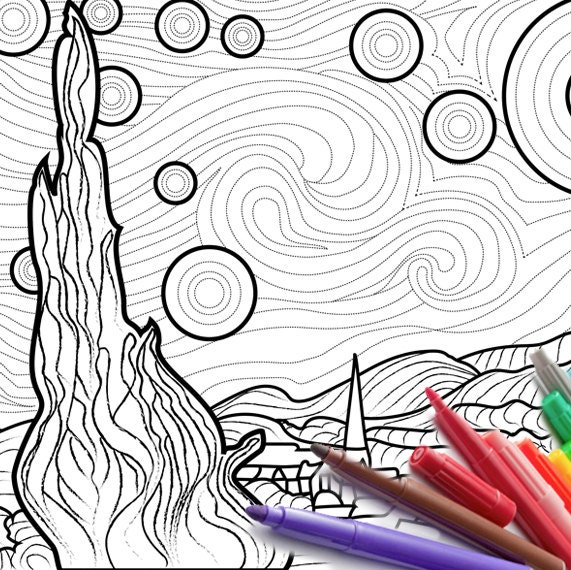 Starry Starry Night Coloring page