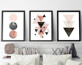 Trending Now Art, Set of 3 prints, Minimalist Poster, Scandinavian Modern, Scandinavian Print, Geometric Art, Blush Pink, Rose Gold, Digital