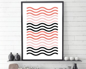 Scandinavian Print, Minimalist Poster, Geometric Art, Downloadable Prints, Scandinavian Art, Scandinavian Poster, Blush, Peach, Printable