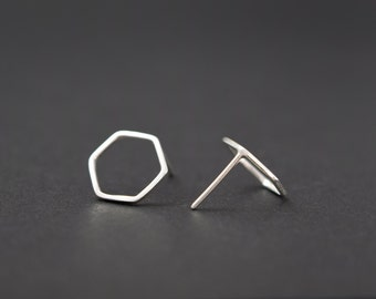 Hexagon Stud Earrings - Geometric Stud Earrings - Silver Geometric Earrings - UK Handmade