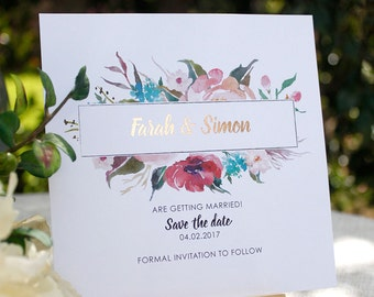 Farah Save the Date SAMPLE - Wedding Invitation, Metallic Foil, Rose Gold, Watercolor Floral, Save the Date