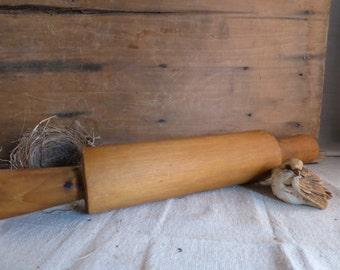 Vintage Wood Rolling Pin Maple Dough Roller Primitive Farmhouse Rustic Pie Roller