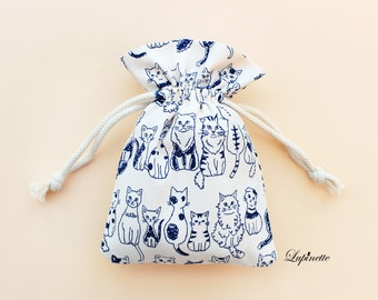 100% hand sewn!  Small Cotton Bag - Cats