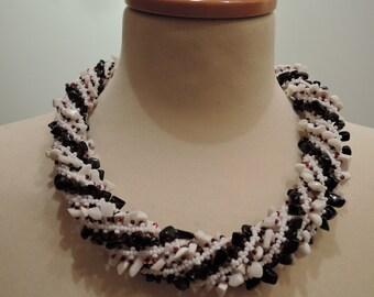 White black red beaded rope