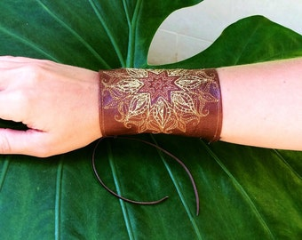 Sunburst mandala leather cuff