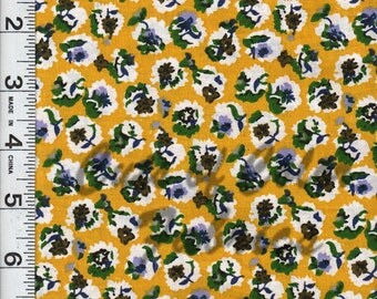 """Retro Cotton floral print Purple and Lavender on mustard yellow ground  44"""" wide E16PRF-005 Quilting print 68 sq or shirting print"""