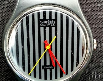Swatch Ebauches Black Pinstripe Wrist Watch