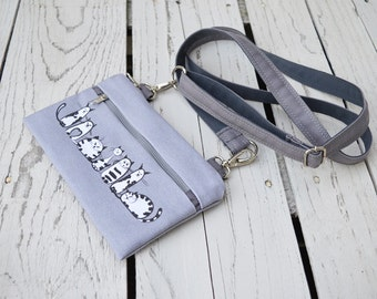 Vegan Cycling belt bag, Cat Printed waist pack, Hipster comfortable mini bag, grey canvas zippered purse, available waterproof waist bag