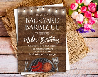 BBQ Birthday invitation, Rustic Printable BBQ Invitation, backyard summer barbecue, BBQ Surprise Birthday invitations, Picnic Invitation,