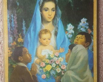 Vintage Virgin Mary and Baby Jesus 9x11 print 1965