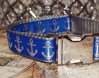 Suspence. Dog Collar, Anchor, Blue, Silver, Unisex, Summer, Martingale Collar, Check Chain, Metal Hardware
