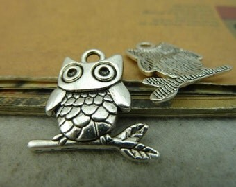 20 Owl connect Charms Antique Silver Tone Standing on a branch