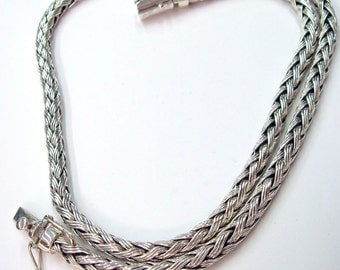 Woven necklace 925 sterling silver triple silver wire weave to square shape,clasp with double safety