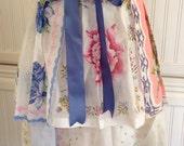 Vintage half apron handkerchief shabby chic Blue roses