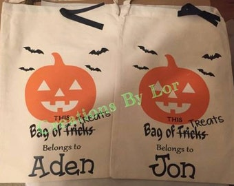 Personalized Halloween Bags / Halloween Sacks / Trick or Treat / Witch / Pumpkin / Draw String and Handles